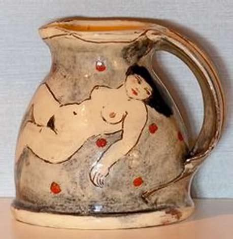 Louise Gardelle-pottery-jug naked lady motif