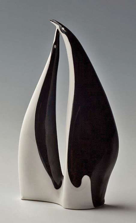 Penguins,-project-porcelain--figurines in black and white