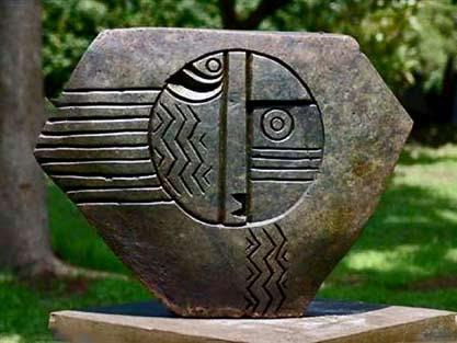 Spirit-Owl-by-Nicholas-Mukomberanwa abstract stone sculpture