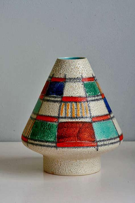 U-Keramik-vase,-1950s space age style