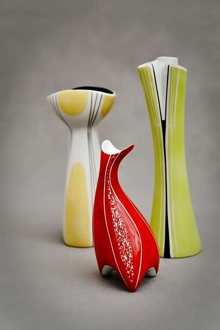Yellow, green and red vases - Porcelain Factory AS Ćmielów