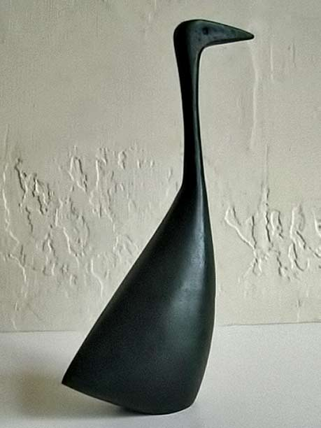 Vintage Mid Century Danish Modern Abstract Bronze Bird Duck Sculpture