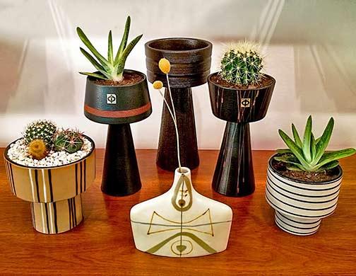 mid century ikebana ceramic vessels