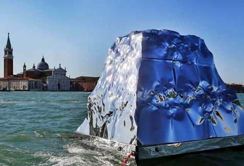 Albanian artist Helidon Xhixha's iceberg installation for the Serbian Arab Republic pavilion.