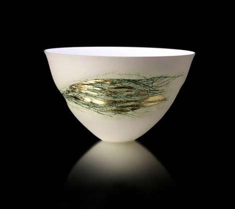 Angela Mellor, Spray Bowl,-Bone China, Green and Gold