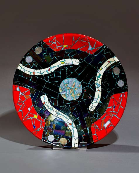 45-RPM-Handmade-Glass-Bowl-Uroborus,-Bullseye-&-Dichroic-Glass-20inches---fused-glass