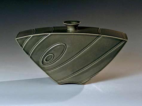 Abora-Vase-Lee-Middleman olive green glaze