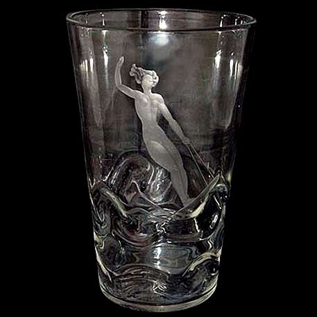 Art Deco glass vase with etched female water skier and wrythen glass to emulate waves designed by Vicke LINDSTRAND for ORREFORS, Sweden 1938. H.- 8.75