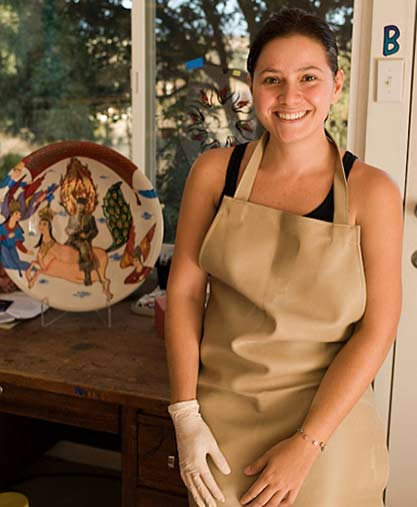 Beliz Iristay in her ceramic studio