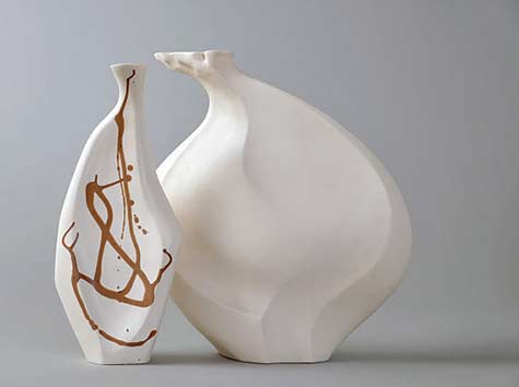 "Ceramic bottle sculptures - ""Saisho"" - With Inlay (left) & The ""Seed"" (right)  - Beverly Morrison"