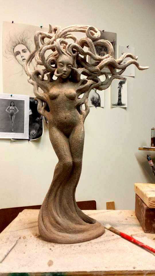 Beverly-Morrison---Ceramic nude standing female with wild hair