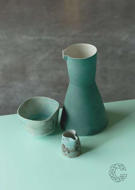 Green carafe by Derek Wilson, Cafe Ceramics by Jack Doherty, photo by Peter Rowen