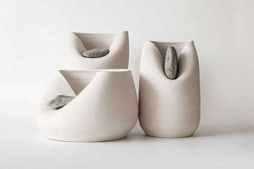 "Designer Martín Azúa has collaborated with Marc Vidal for the project ""Vase With Stone inserts"