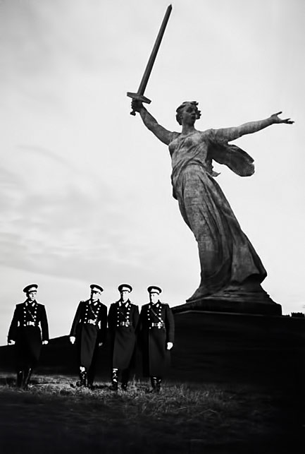 Dmitri Baltermants-Soldiers Walking in front of the WW-II Motherland Calls Monument in Volgograd
