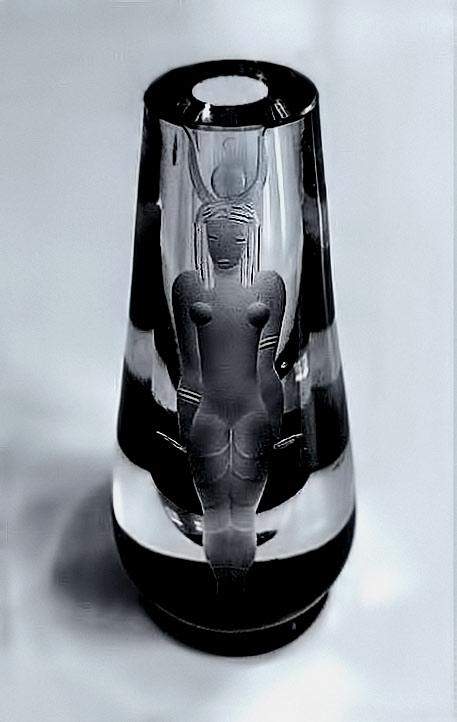 glass vase Egyptian Goddess sculpture