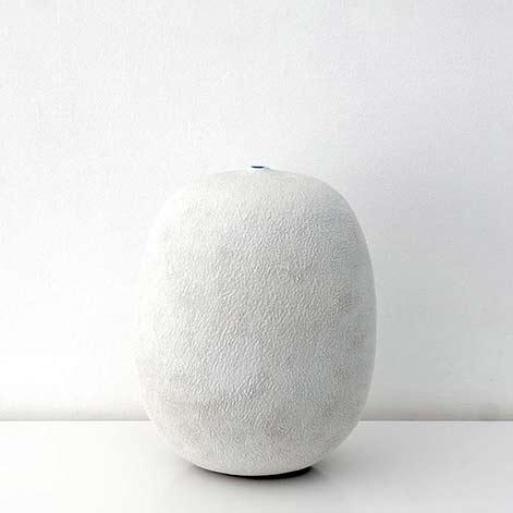 Erna Aaltonen white ceramic ovoid vessel Puls Ceramics