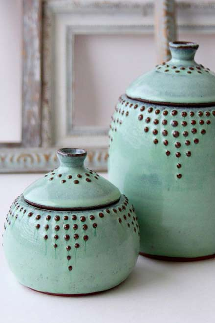 Etsy-Shop-Back-Bay-Pottery nimt green lidded canisters