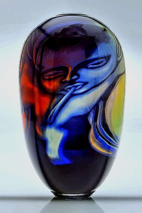 Eva-Englund-(Swedish,-1937-1998),-Orrefors,-Graal-Glass-polychrome Vase