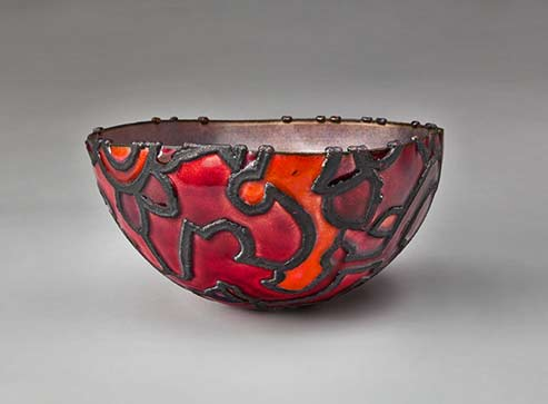 Fortuny-Bowl-(spun and hammered copper with electroformed design, light purple enamel interior, red and orange enamel exterior1981-June-Schwarcz