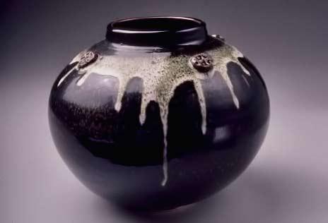 Globe vase, temmoku with white drip glaze - Bob Pool