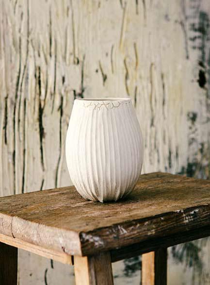 Janaki-Larsen-white-ribbed-vase