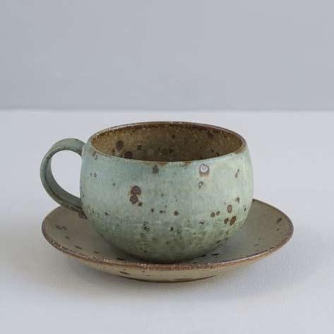 Japanese-Stoneware-Cup-and-Saucer---Turquoise-and-Natural-Specks-Maker---Mayumi-yamashita