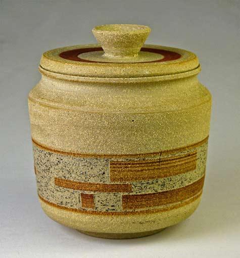 Jar flat lid banded blue_ Christopher Unger