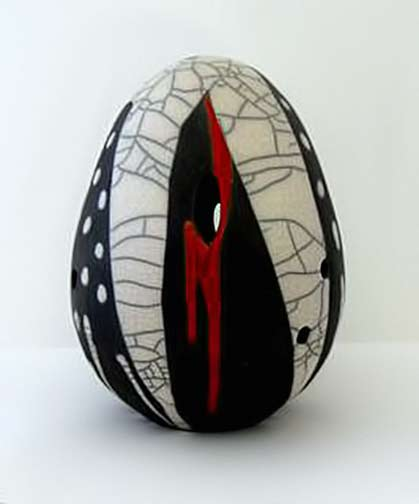 Jo Killen - black, white, red ovoid Raku vessel