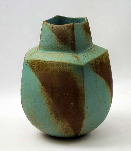 John-Ward-green and brown ceramic-vase