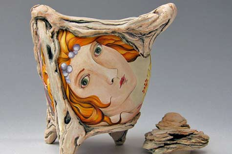 Female Face motif teapot -- Julia Feld