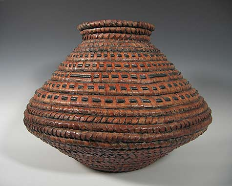 Orange brown Clay Basket -«- Kathy Pallie