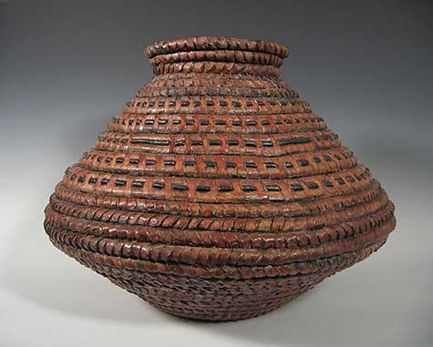 Orange brown Clay Basket -«- Kathy Pallie