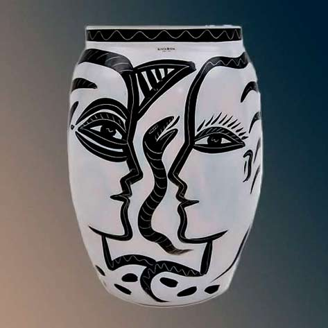 Kosta Boda Adam Eve & Serpent Glass Vase Sweden 1980's black head outline on white