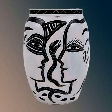 Kosta Boda Adam Eve & Serpent Glass Vase Sweden 1980's black head outline on white