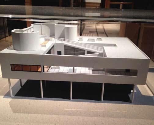 Model of modernist building, Le Corbusier's, 'Poissy'