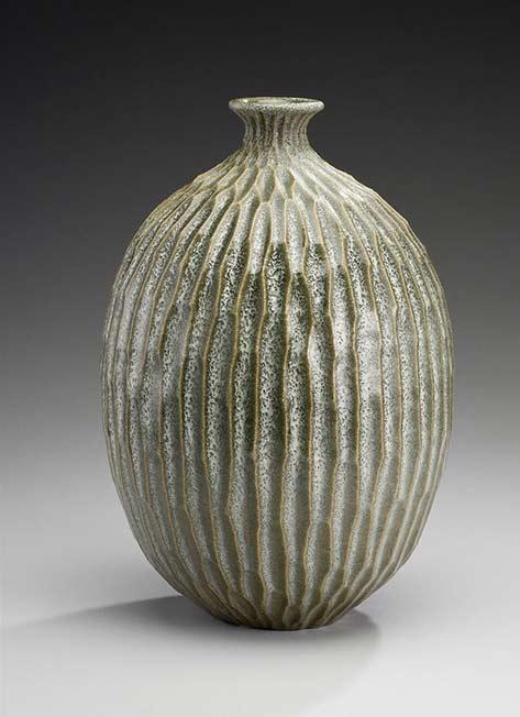Lee-Middleman-ovoid ceramic-textured bottle