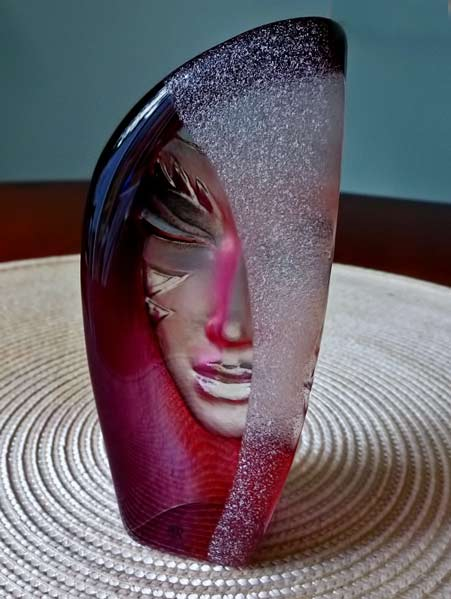 Mat Jonasson Masquerade Red glass sculpture