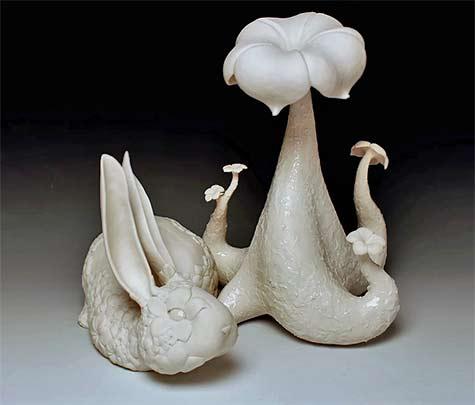 Maile-Iwanaga---Follow-the-White-Rabbit porcelain sculpture