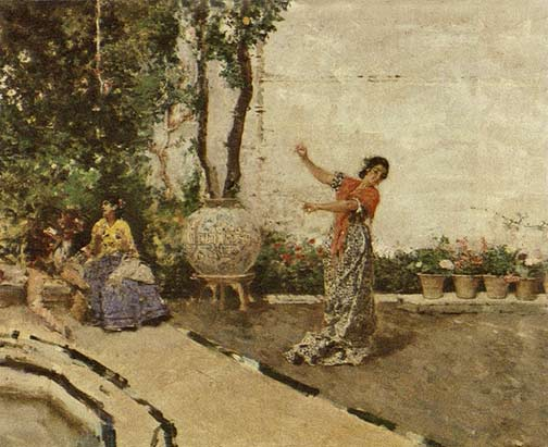 Mariano Fortuny painting, 'Gypsy Dancing in the Garden of Granada'
