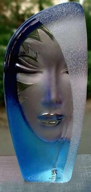 Mats Jonasson Art Glass Sculpture Masquerade in Blue,