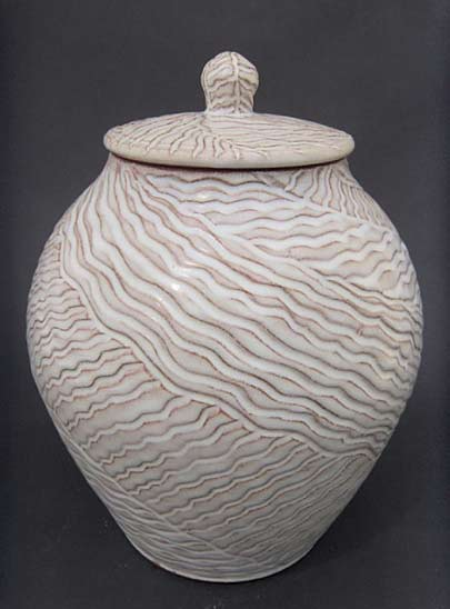 Miriam-Loory-Krombach lidded carved surface jar