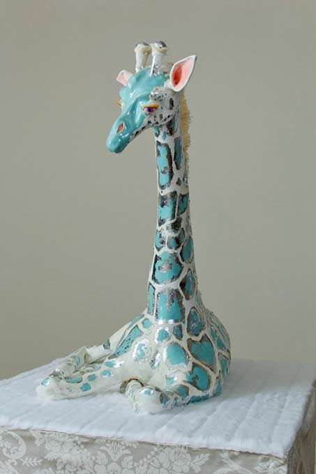 My-life-is-an-embaressment-of-riches---Djinnaya-Stroud turqouise giraffe sculplture