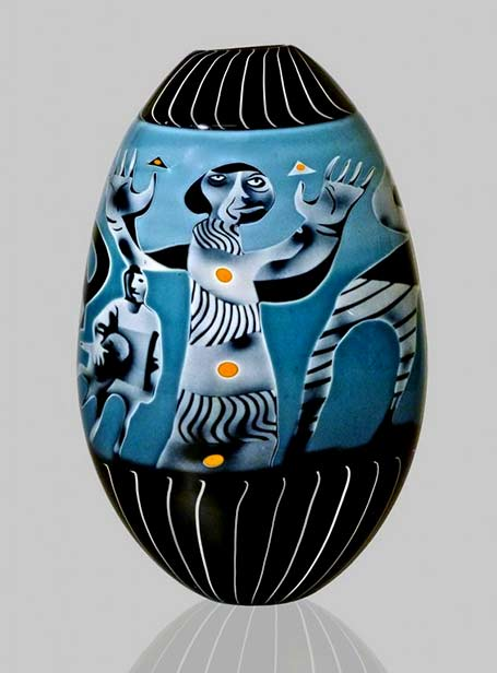 Peter-Hermansson-(Swedish),-Graal-Glass-Vase -- turquoise with abstract figures