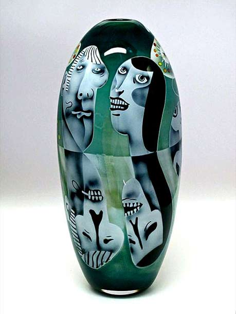 Peter-Hermansson-(Swedish),-'Under-The-Surface'-Graal-Glass cubist vase