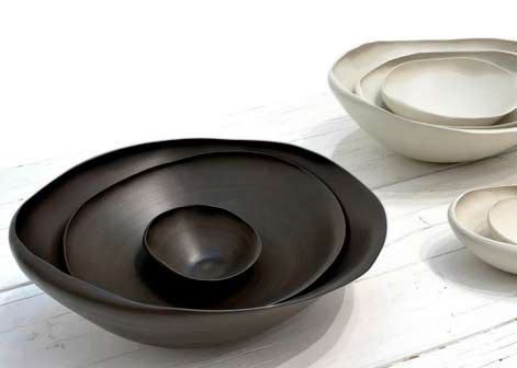 Rina Menardi's collection of hand-made stoneware pieces in black and white