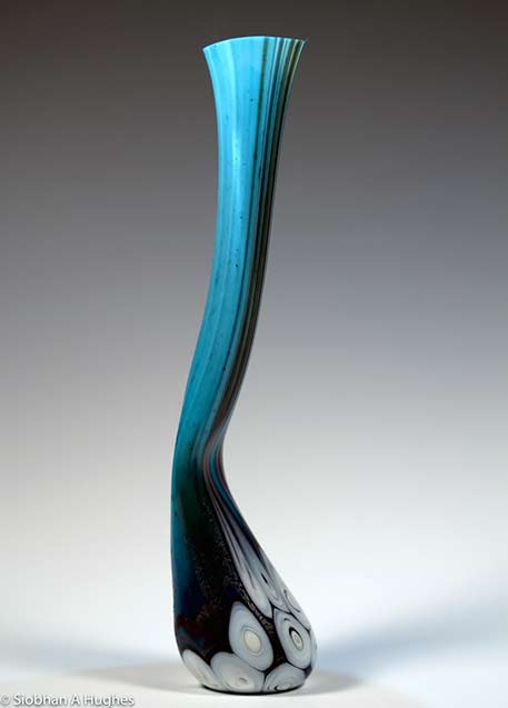 Sea+Vessels-Siobhan-Hughes long necked glass sculpture vessel in turquoise and black