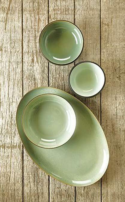 Calming Ceramic Vessels Greens White Black