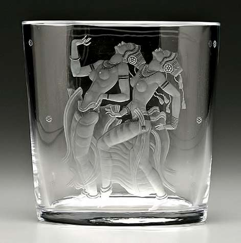 Simon Gate (Swedish, 1883-1945), Orrefors, 'Java Dancers' Engraved Glass Vase
