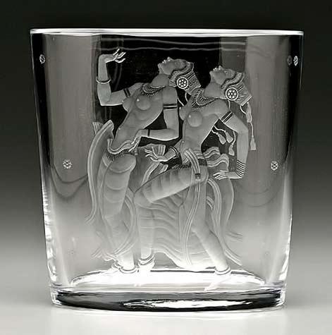 Simon Gate (Swedish, 1883-1945), Orrefors, 'Java Dancers' Engraved Glass Vase