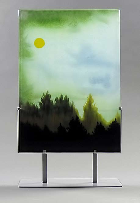 Smoky Moonlight hand painted glass panels--Paul Messink